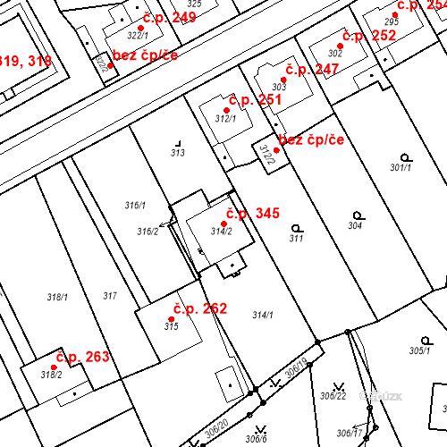 Katastrální mapa Stavební objekt Újezdské Předměstí 345, Bílina