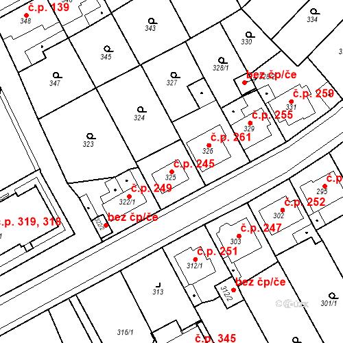 Katastrální mapa Stavební objekt Újezdské Předměstí 245, Bílina