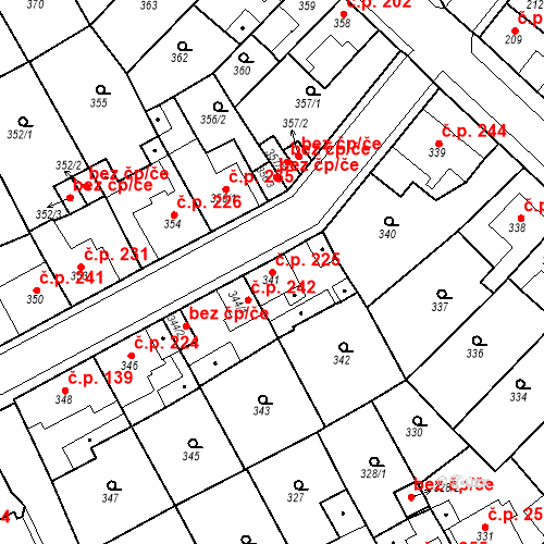 Katastrální mapa Stavební objekt Újezdské Předměstí 225, Bílina