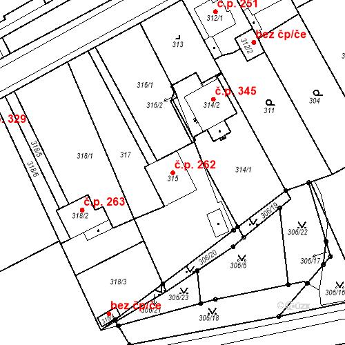 Katastrální mapa Stavební objekt Újezdské Předměstí 262, Bílina