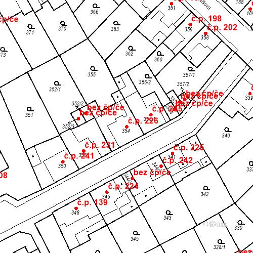 Katastrální mapa Stavební objekt Újezdské Předměstí 226, Bílina