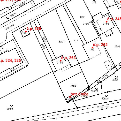 Katastrální mapa Stavební objekt Újezdské Předměstí 263, Bílina