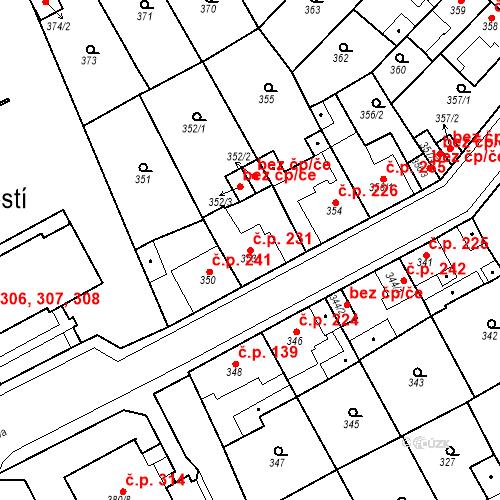 Katastrální mapa Stavební objekt Újezdské Předměstí 231, Bílina