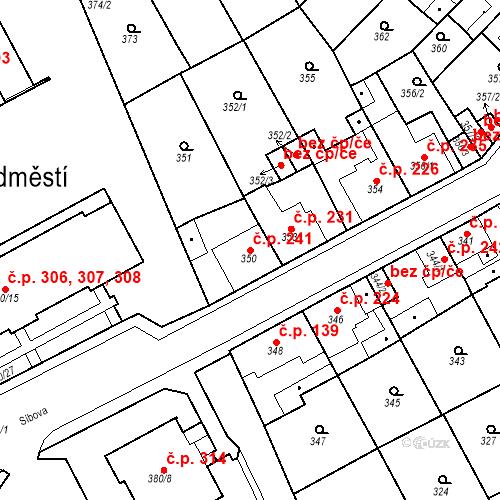 Katastrální mapa Stavební objekt Újezdské Předměstí 241, Bílina