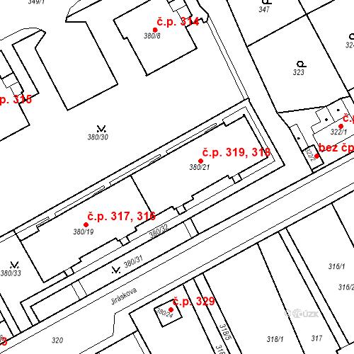 Katastrální mapa Stavební objekt Újezdské Předměstí 318, 319, Bílina
