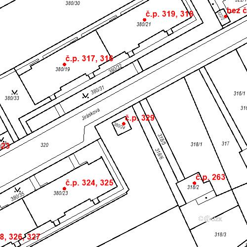 Katastrální mapa Stavební objekt Újezdské Předměstí 329, Bílina