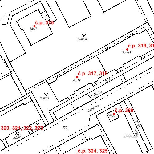 Katastrální mapa Stavební objekt Újezdské Předměstí 316, 317, Bílina
