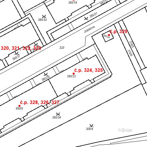 Katastrální mapa Stavební objekt Újezdské Předměstí 324, 325, Bílina