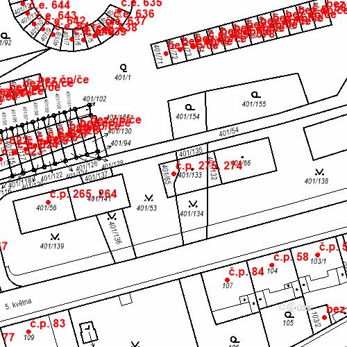 Katastrální mapa Stavební objekt Újezdské Předměstí 274, 275, Bílina