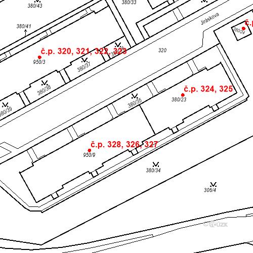 Katastrální mapa Stavební objekt Újezdské Předměstí 326, 327, 328, Bílina