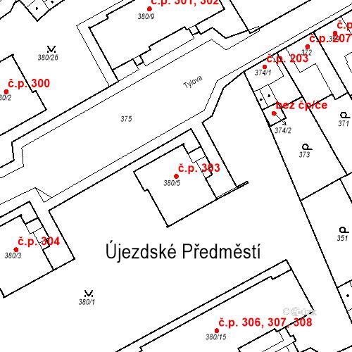Katastrální mapa Stavební objekt Újezdské Předměstí 303, Bílina