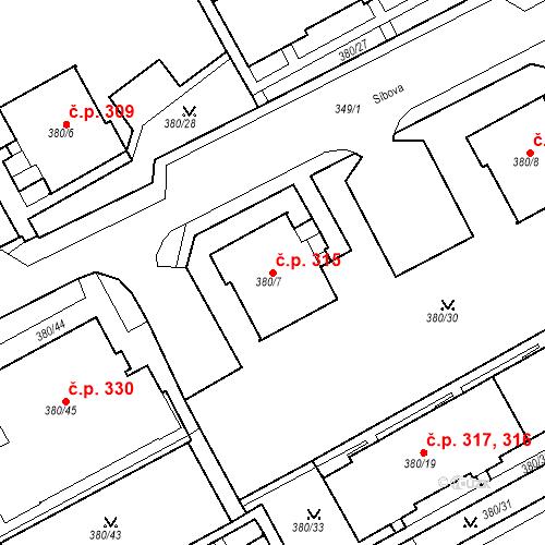 Katastrální mapa Stavební objekt Újezdské Předměstí 315, Bílina