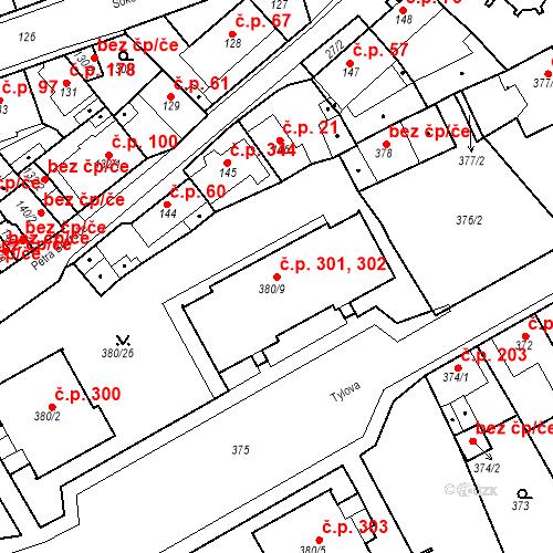 Katastrální mapa Stavební objekt Újezdské Předměstí 301, 302, Bílina