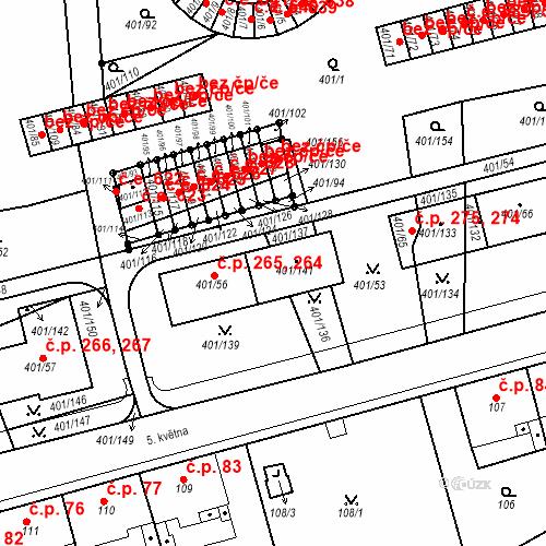 Katastrální mapa Stavební objekt Újezdské Předměstí 264, 265, Bílina