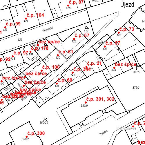 Katastrální mapa Stavební objekt Újezdské Předměstí 344, Bílina