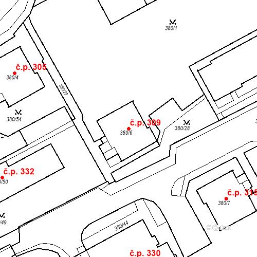 Katastrální mapa Stavební objekt Újezdské Předměstí 309, Bílina