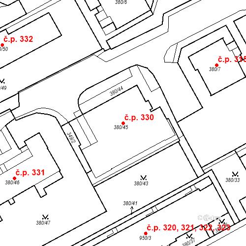 Katastrální mapa Stavební objekt Újezdské Předměstí 330, Bílina