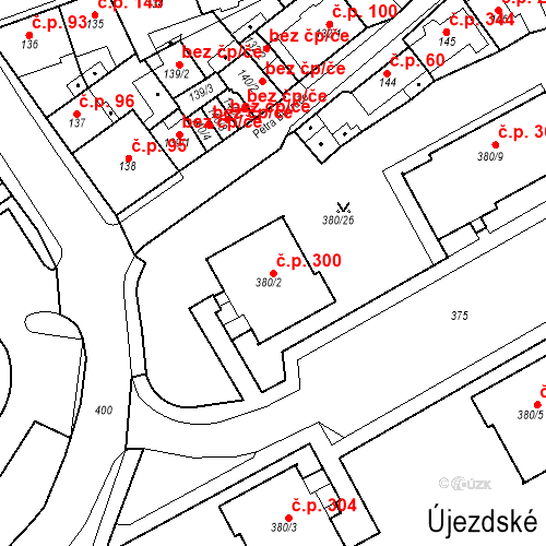 Katastrální mapa Stavební objekt Újezdské Předměstí 300, Bílina