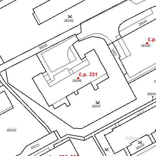 Katastrální mapa Stavební objekt Újezdské Předměstí 331, Bílina