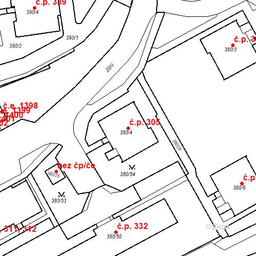 Katastrální mapa Stavební objekt Újezdské Předměstí 305, Bílina