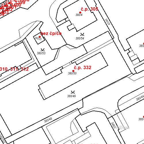 Katastrální mapa Stavební objekt Újezdské Předměstí 332, Bílina