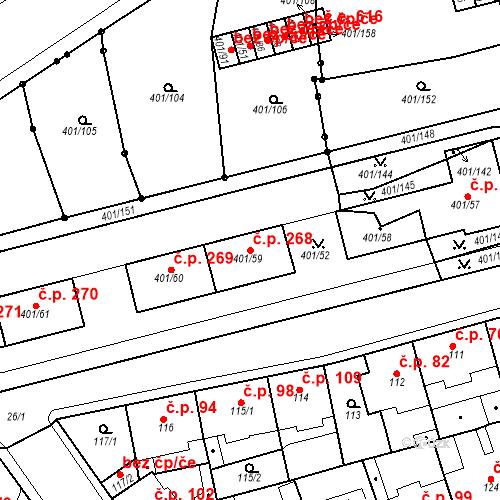 Katastrální mapa Stavební objekt Újezdské Předměstí 268, Bílina