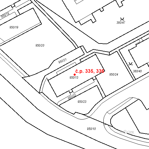 Katastrální mapa Stavební objekt Újezdské Předměstí 335, 336, Bílina