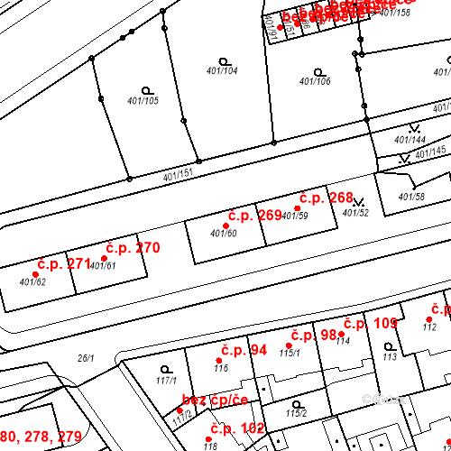 Katastrální mapa Stavební objekt Újezdské Předměstí 269, Bílina