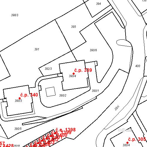Katastrální mapa Stavební objekt Újezdské Předměstí 339, Bílina