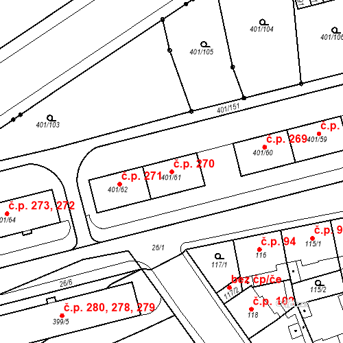 Katastrální mapa Stavební objekt Újezdské Předměstí 270, Bílina