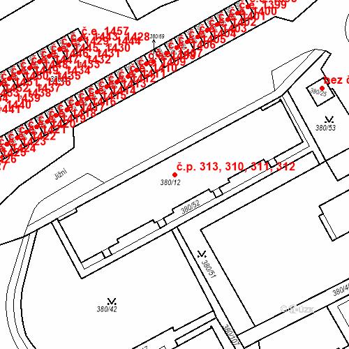 Katastrální mapa Stavební objekt Újezdské Předměstí 310, 311, 312, 313, Bílina