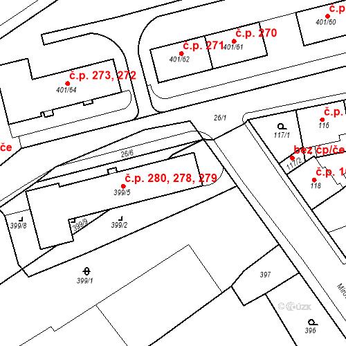Katastrální mapa Stavební objekt Újezdské Předměstí 278, 279, 280, Bílina
