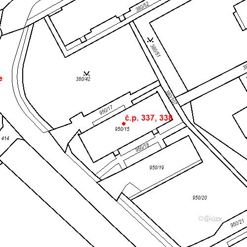 Katastrální mapa Stavební objekt Újezdské Předměstí 337, 338, Bílina