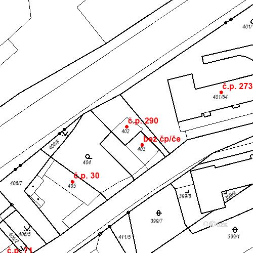 Katastrální mapa Stavební objekt Újezdské Předměstí 290, Bílina