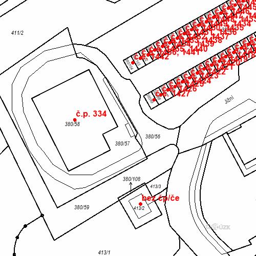 Katastrální mapa Stavební objekt Újezdské Předměstí 333, Bílina