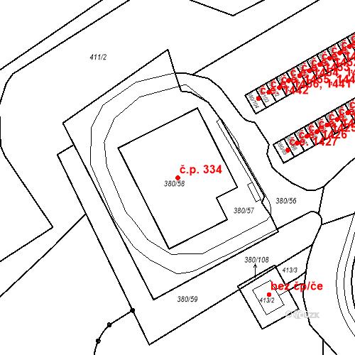 Katastrální mapa Stavební objekt Újezdské Předměstí 334, Bílina