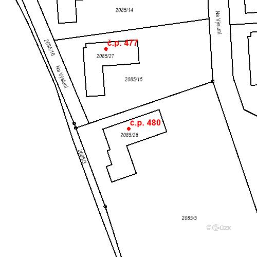 Katastrální mapa Stavební objekt Mostecké Předměstí 480, Bílina