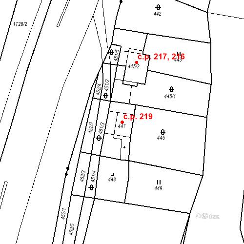 Katastrální mapa Stavební objekt Újezdské Předměstí 219, Bílina