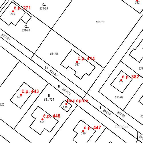Katastrální mapa Stavební objekt Obecnice 414, Obecnice
