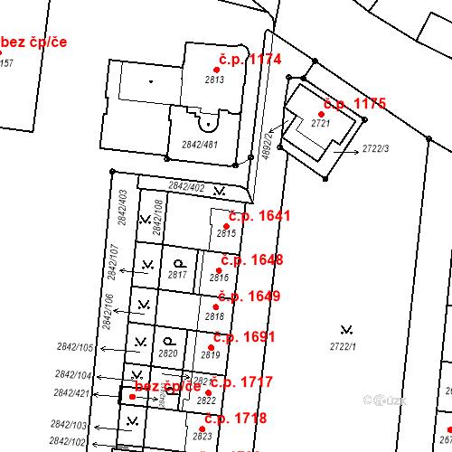 Katastrální mapa Stavební objekt Louny 1641, Louny