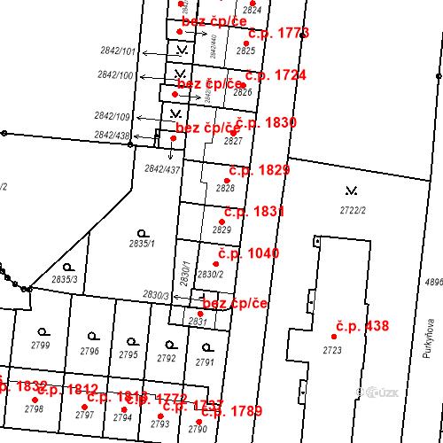 Katastrální mapa Stavební objekt Louny 1831, Louny