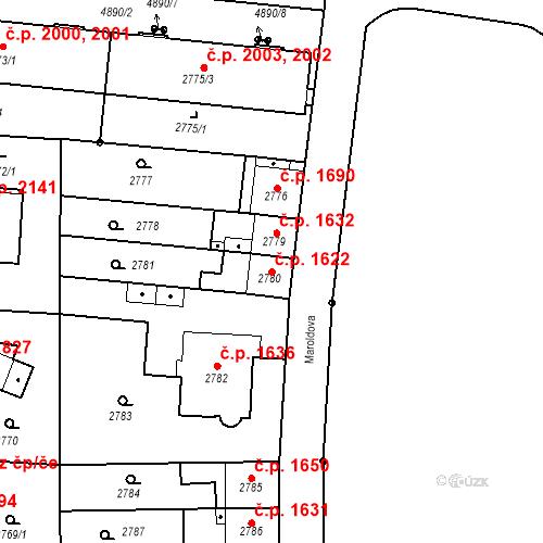 Katastrální mapa Stavební objekt Louny 1622, Louny