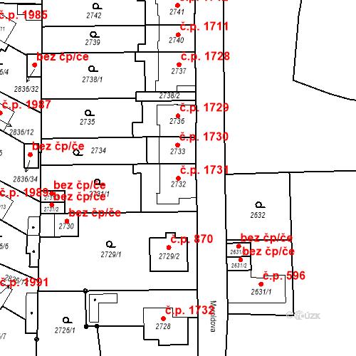 Katastrální mapa Stavební objekt Louny 1731, Louny