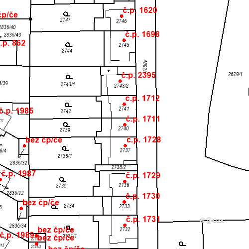 Katastrální mapa Stavební objekt Louny 1711, Louny
