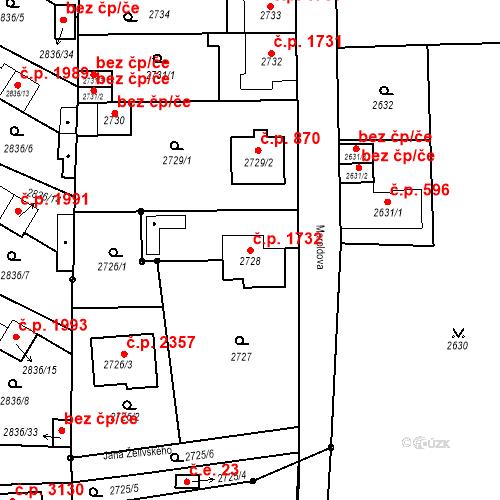 Katastrální mapa Stavební objekt Louny 1732, Louny