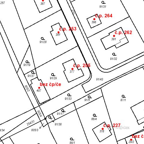 Katastrální mapa Stavební objekt Podluhy 255, Podluhy