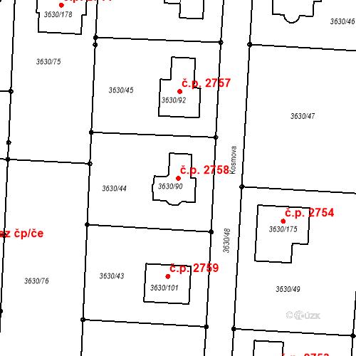 Katastrální mapa Stavební objekt Louny 2758, Louny