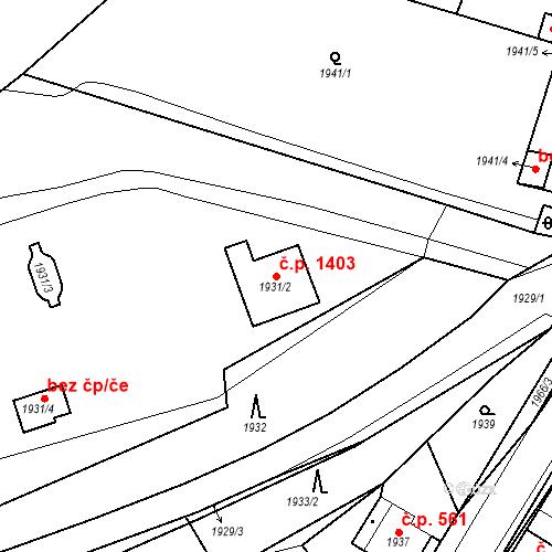 Katastrální mapa Stavební objekt Hořovice 1403, Hořovice