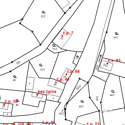 Katastrální mapa Stavební objekt Brodec 68, Brodec