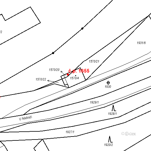 Katastrální mapa Stavební objekt Hořovice 1655, Hořovice